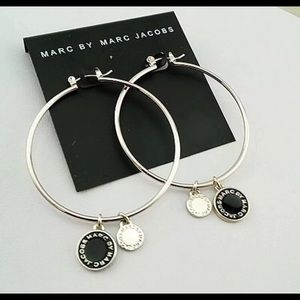 """New Marc by Marc Jacobs 2"""" Black & Silver Hoop"""